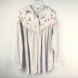 Free People Tunic Popover Shirt Cotton White Large